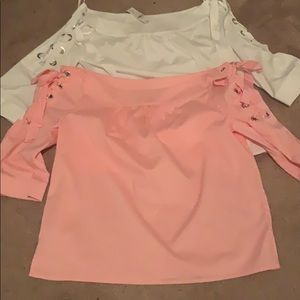 New York &Co Pink and White shirts